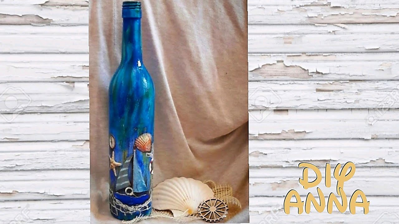 Decoupage sea bottle diy ideas decorations craft tutorial for Colored bottles for decorations