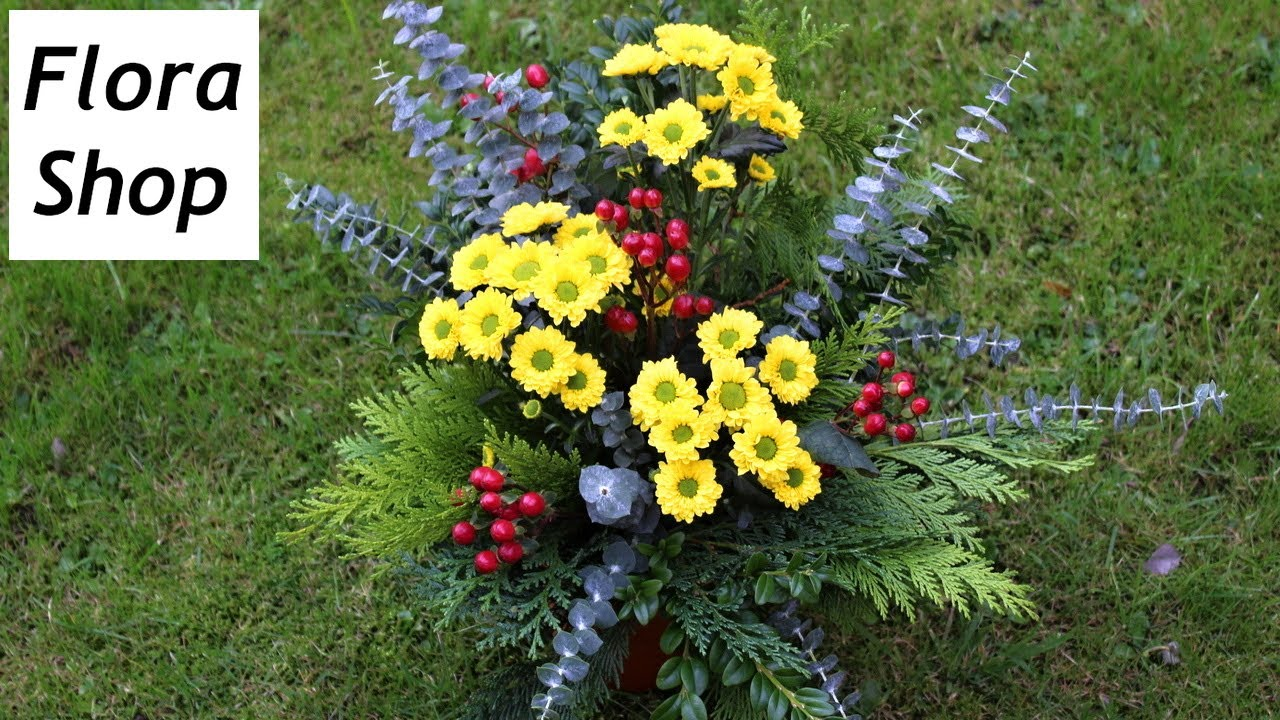 Grabschmuck f r allerheiligen floristik anleitung deko for Floristik allerheiligen