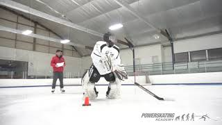 Goalie skating in our PowerSkating Class