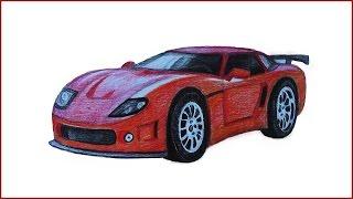 Уроки рисования. Как нарисовать МАШИНУ how to draw a car(В этом уроке научимся рисовать модную машину цветными карандашами. ▻ Скачайте видео урок