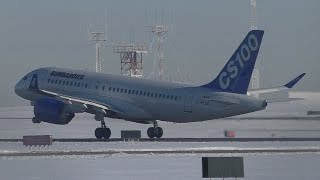 Great Sound - Bombardier CS100 [C-FFCO] Close Up Taxi and Takeoff from Calgary Airport  ᴴᴰ