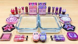 purple-vs-pink-mixing-makeup-eyeshadow-into-clear-slime-special-series-78-satisfying-slime-video