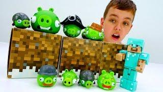 Энгри Бердз в мире Майнкрафт! Видео про игры для детей.