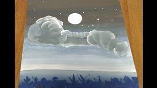 Урок, Рисуем ночное небо, часть 3, Луна и лес, irishkalia