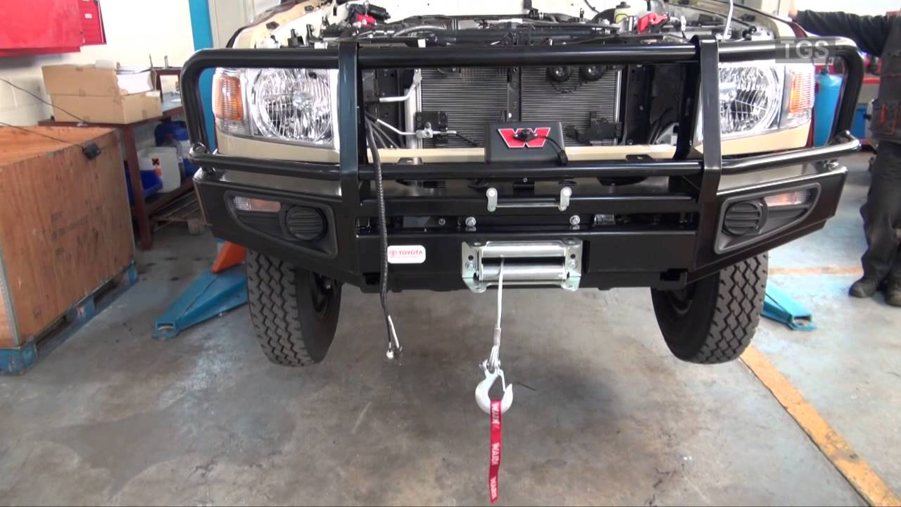 Toyota Land Cruiser 70 >> Fitting of a winch & bull-bar to a Toyota Land Cruiser 70 Series - YouTube