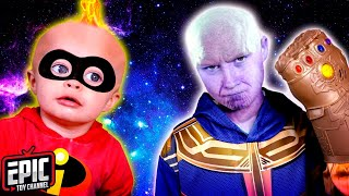 Incredibles 2 Baby Jack Jack vs Avengers Thanos Infinity Gauntlet Pretend Play Parody for Kids