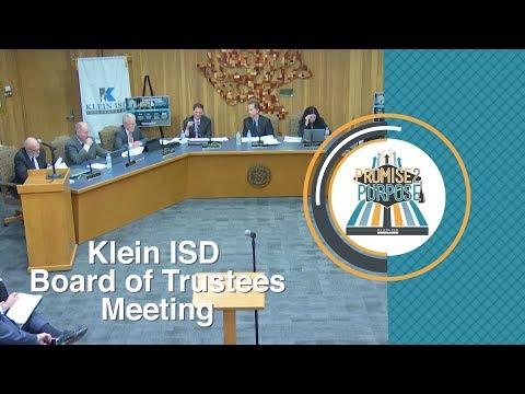 Klein ISD: Board Of Trustees Meeting, 09/18/2017