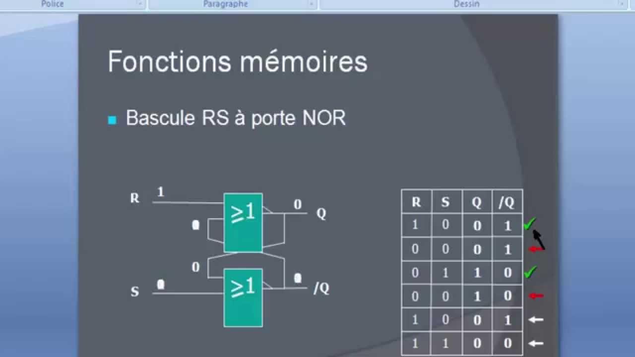Logique sequentielle bascule rs part 1 youtube for Bascule logique