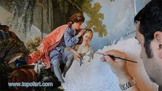 Art Reproduction (Boucher - The Four Seasons: Spring) Hand-Painted Step by Step