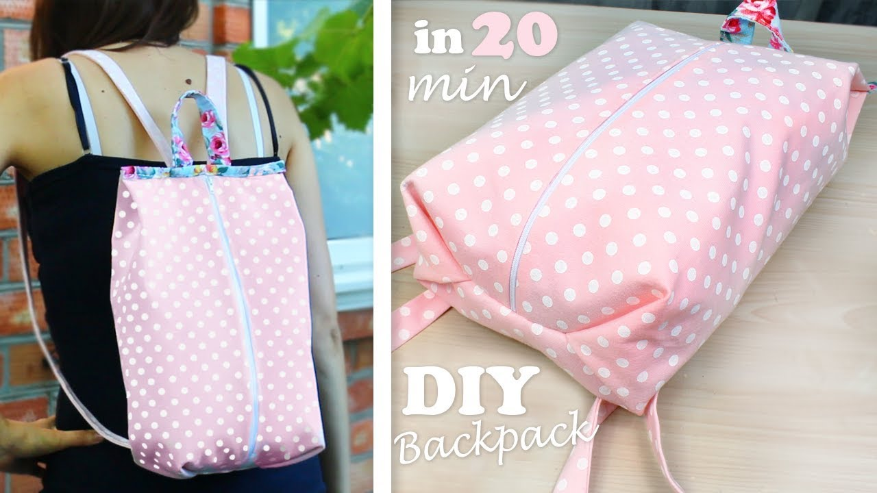 f9a6a9c418 DIY ZIPPER BACKPACK WITHOUT PATTERN    Fast Way to Make Fashion Backpack
