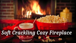 Cozy Fireplace with Soft Crackling Fire Sounds, Steaming Coffee and Popcorn
