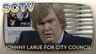Johnny makes his pitch for city council. and he denies that he's gay. paid by the sicilian homophile society.johnny larue - john candy; wife catherine ...