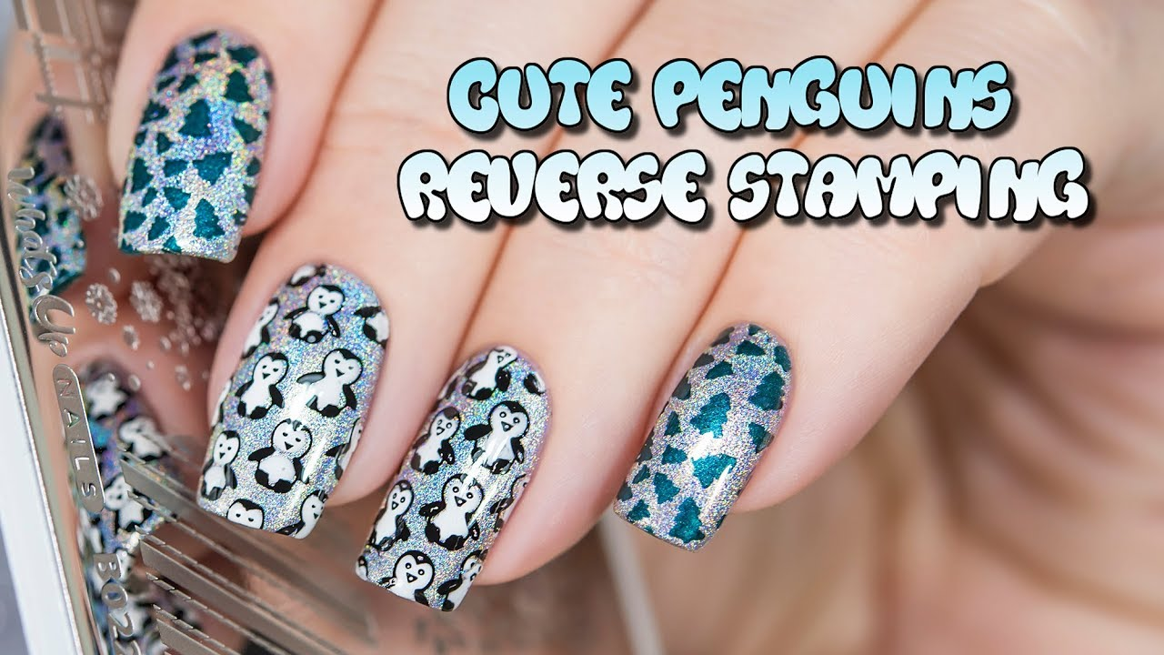 Cute Penguins Reverse Stamping Nail Art