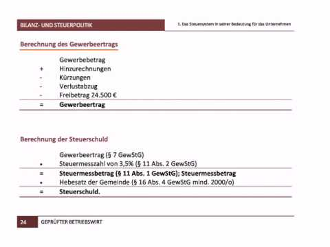 Gewerbesteuer Berechnen übungen : gepr fter betriebswirt ihk bilanz und steuerpolitik berechnung youtube ~ Themetempest.com Abrechnung