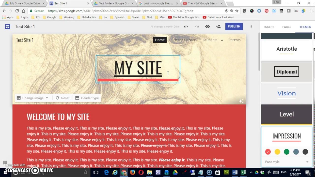 Google theme reset - The New Google Sites Themes