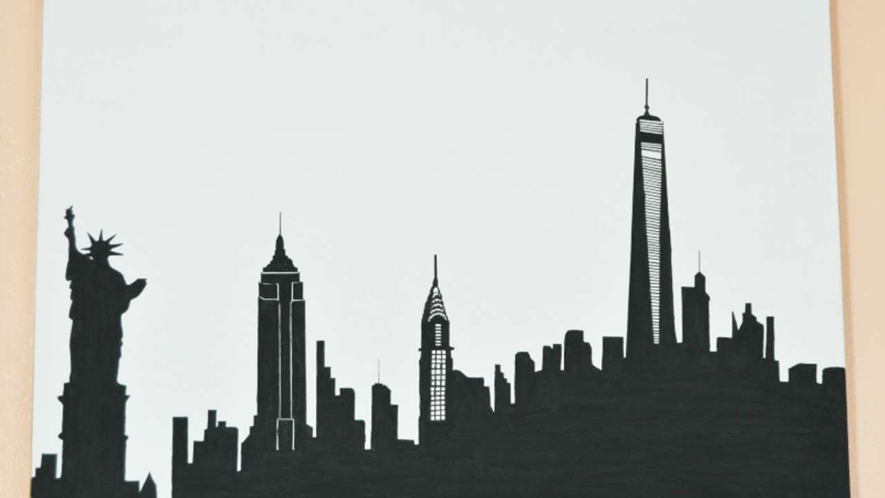 How To Draw A Skyline Silhouette Of New York Diy Crafts Tutorial