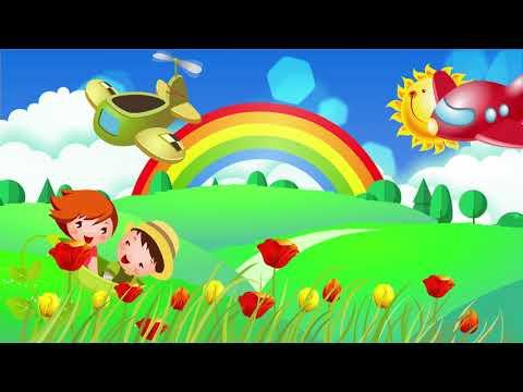 Cartoon field rainbow summer background
