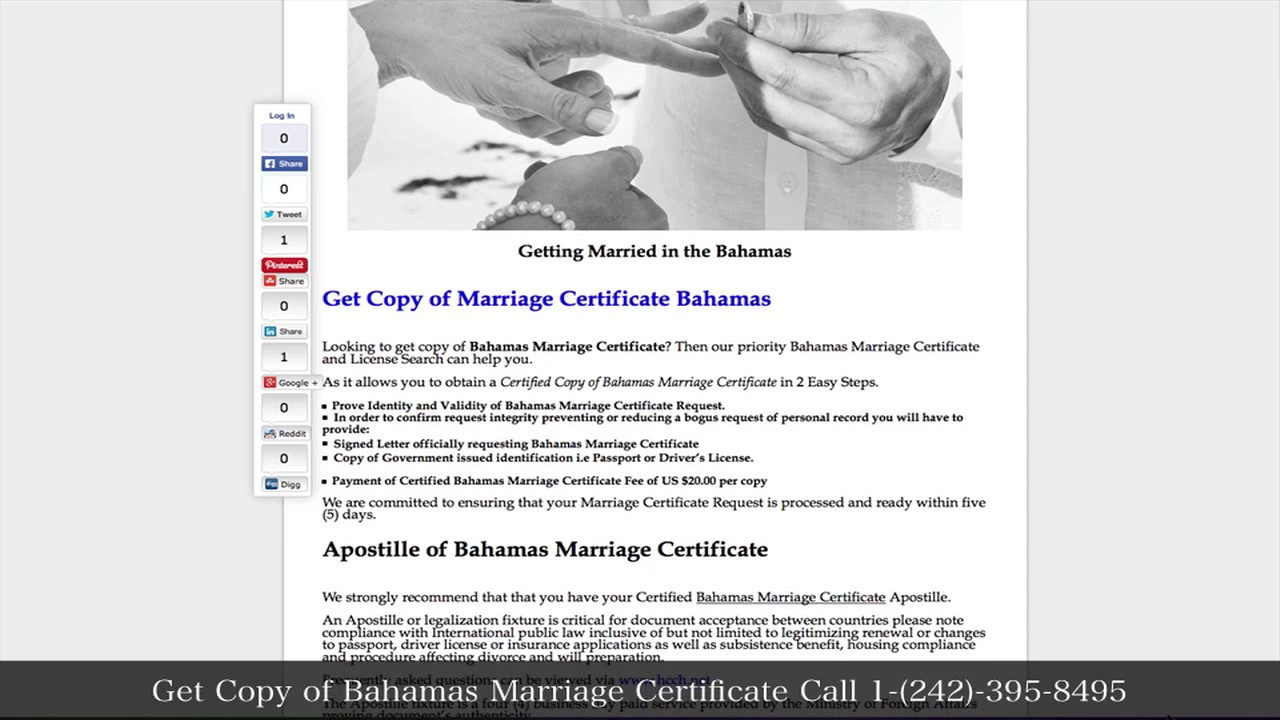 Get A Copy Of Bahamas Marriage Certificate Youtube