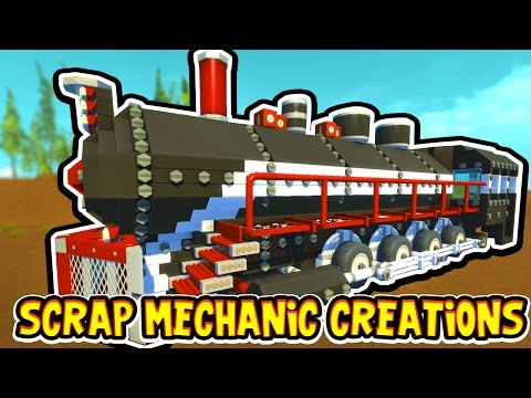 Scrap Mechanic CREATIONS! - CRAZY WORKING TRAIN!! [#14] W/AshDubh | Gameplay |