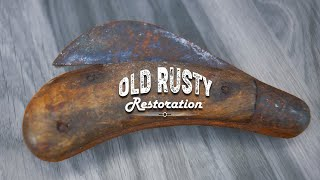 Restoration of an Old Rusty SUPER garden knife.