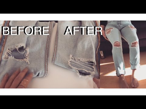 How To Repair Jeans Holes Diy Jeans Löcher Füllen I Ripped Jeans