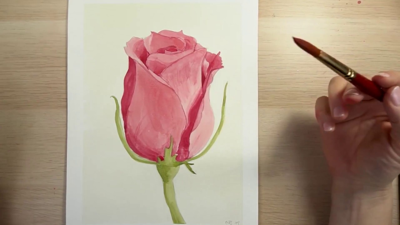 How to draw and paint a red rose with watercolors youtube for Easy way to paint a rose