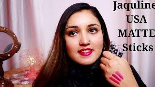 Jaquline USA Matte Stick Velvet Matte Lipstick   Review & Swatches