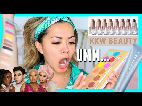 trying-hot-new-products!-kkw-beauty-nude-lipsticks,-manny-mua-lunar-beauty,-jet-lag-mask-+-more!