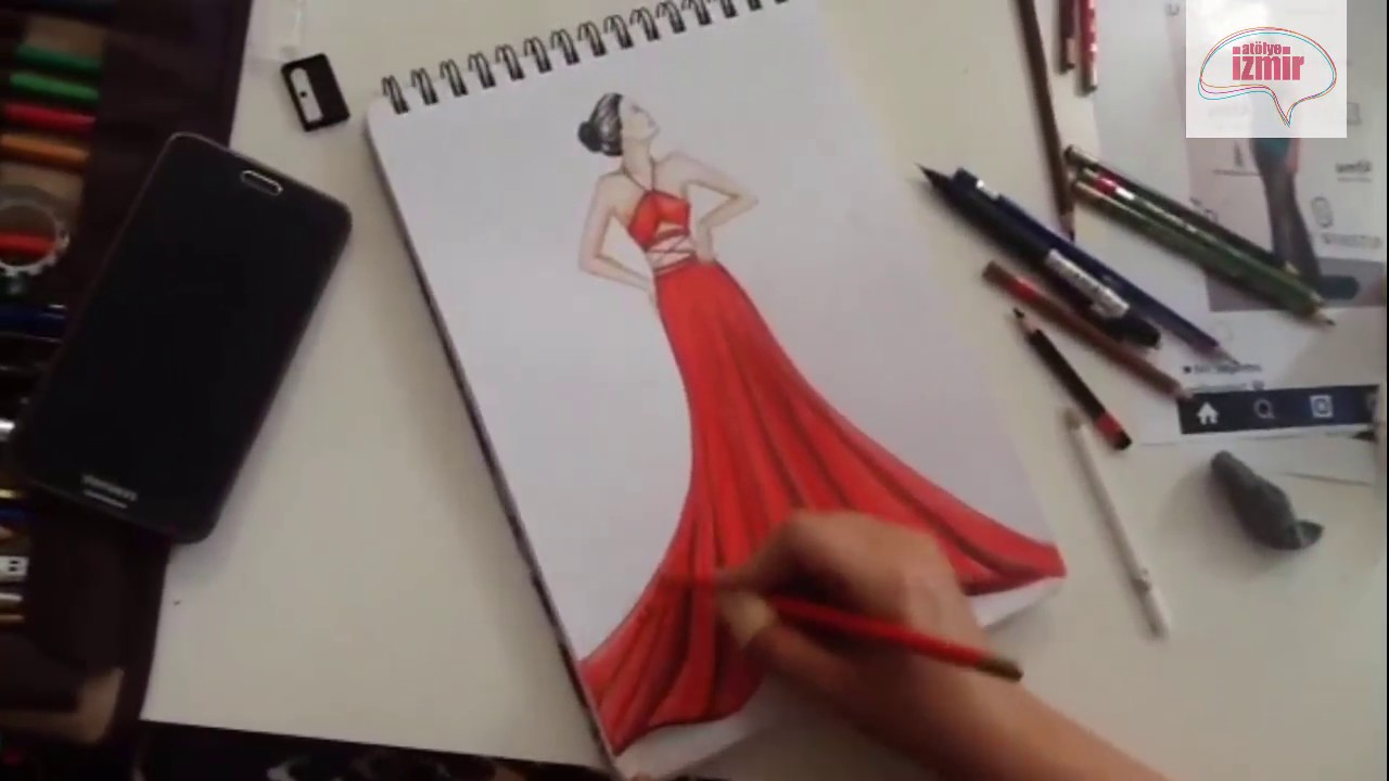 Atölye Izmir Moda Tasarım Stilistlik Kırmızı Abiye Elbise çizimi