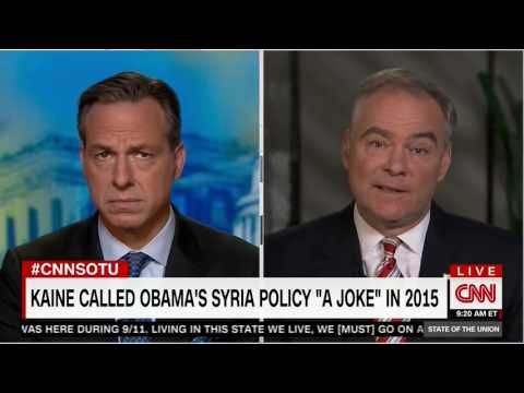 Jake Tapper reminds Tim Kaine he once called Obama's Syria policy 'a joke'