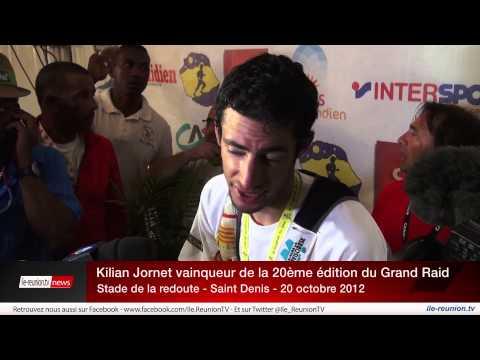 Ile de la Réunion  - Arrivée de Kilian Jornet vainqueur du Grand Raid 2012