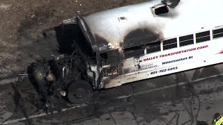 Sky 5 captures fire that ripped through school bus