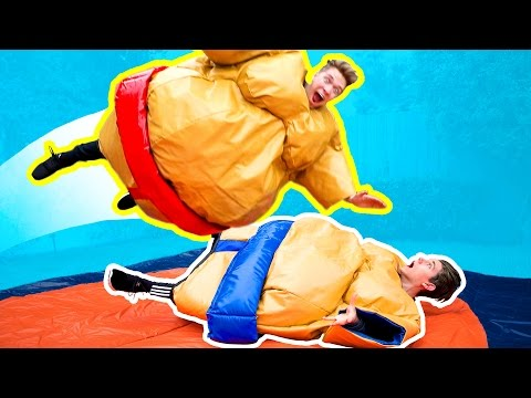 Thumbnail: THE GYMNASTICS CHALLENGE in GIANT SUMO SUITS! Funny Family Try Fantastic Gymnastics Battle Challenge