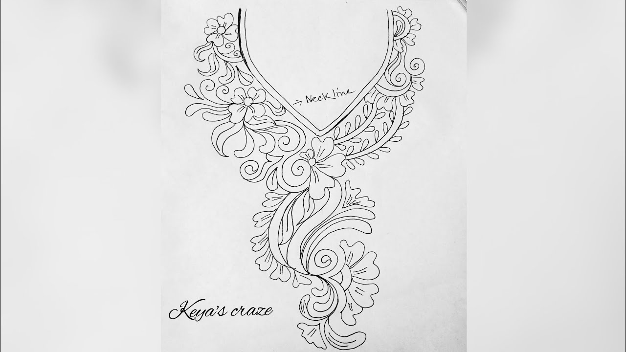 Neckline Drawing : Neck design drawing for hand embroidery how to draw