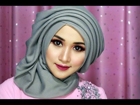 Tutorial Make Up Dan Hijab Sege Empat Semple Mewah, Hijab Pesta, Hijab Kndangan,hijab Wisuda-1