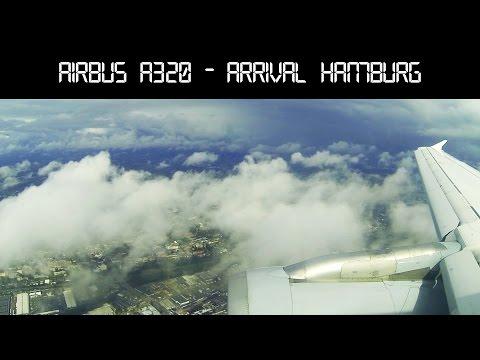 Airbus A320 arrival and landing at Hamburg International Airport