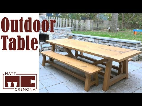White Oak Farmhouse Table and Benches From Firewood Log