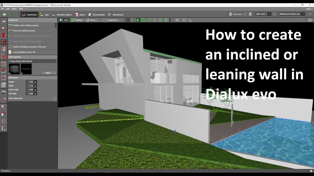 How to create an inclined or leaning wall in Dialux evo