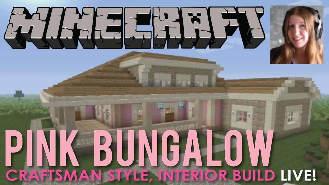 pink bungalow home interior building in minecraft live youtube