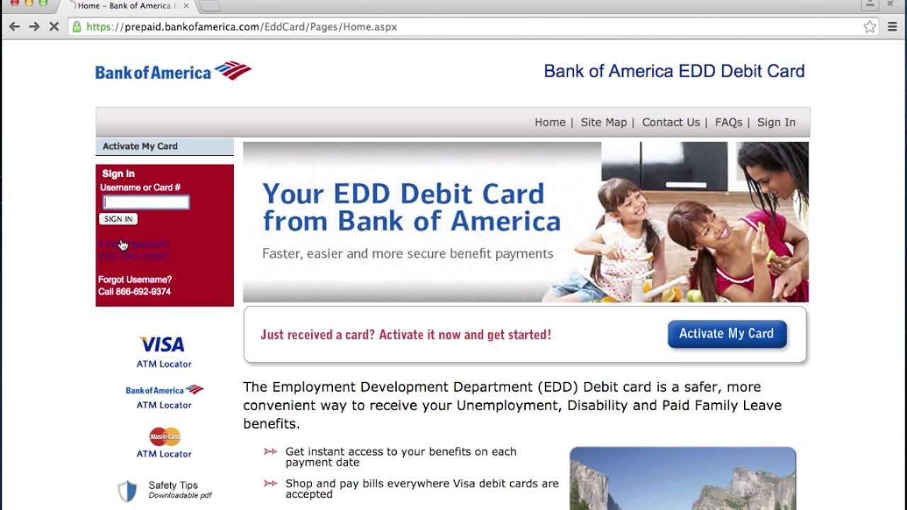 Bank of America EDD Debit Card Online Login Instructions ...