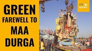 Noida residents bid adieu to Goddess Durga in eco-friendly manner
