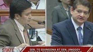 SONA: Sen. TG Guingona at Sen. Jinggoy Estrada, nagkasagutan sa Senado