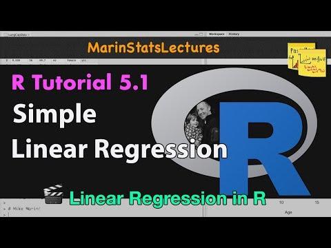 Simple Linear Regression In R | R Tutorial 5.1 | MarinStatsLectures