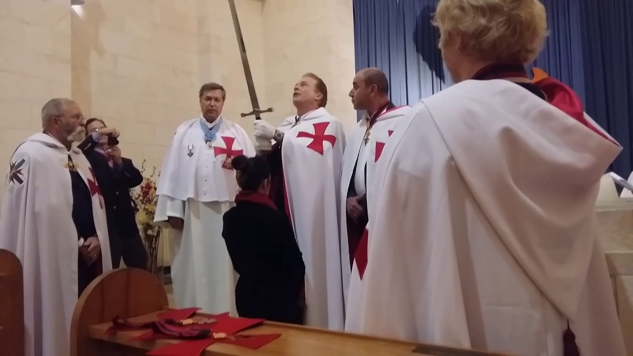 Gabi being knighted for the Knights of the Templar