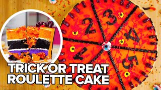 Gross Halloween Surprise! Roulette CAKE GAME w/ Eh Bee Family | How To Cake It | Yolanda Gampp