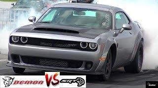 2018 DEMON vs HELLCAT DRAG RACE !! Stock 840 HP Demon vs 707 HP Hellcat - 1/4 Mile  - RoadTestTV®