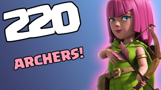 Clash of Clans [HOW TO USE ARCHERS: CALLING ALL UNITS SERIES! 220 ARCHERS ATTACK IN COC!]