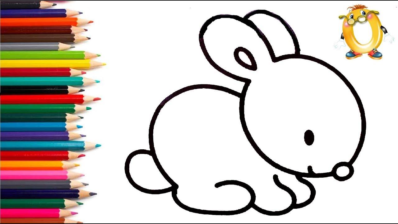 Раскраска для детей ЗАЙЧИК. Мультик - Раскраска. Учим ...