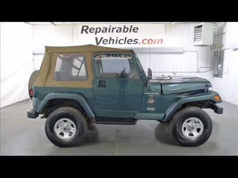 1999 jeep wrangler sahara soft top 4x4 repairables rebuildable stock 12020247 youtube. Black Bedroom Furniture Sets. Home Design Ideas