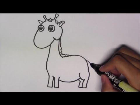 วาดรูปการ์ตูนน่ารัก ระบายสี และเรียนรู้ภาษาอังกฤษ Giraffe ยีราฟ